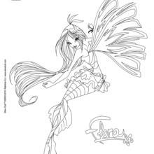 Dibujo para colorear : Flora, transformación en Sirenix