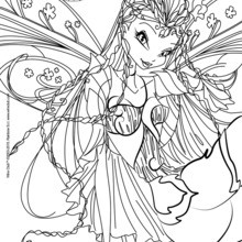Dibujo para colorear : Flora, transformation Bloomix
