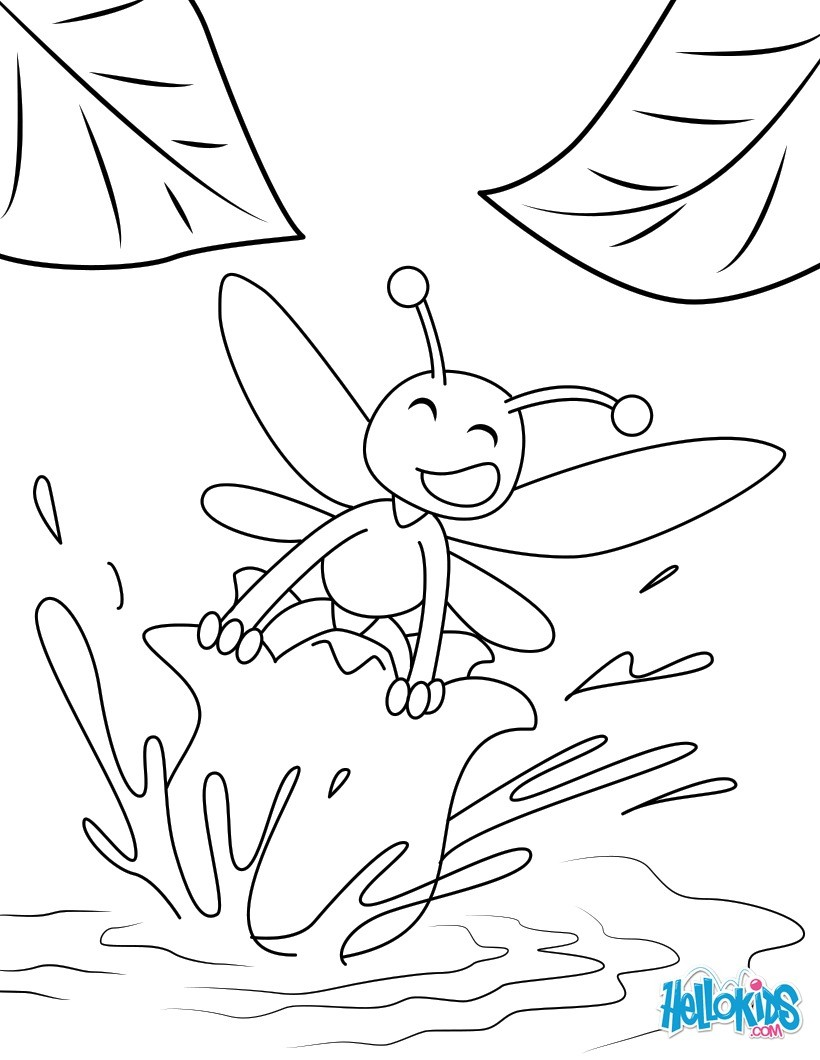 Dibujo para colorear : Muguete y abeja