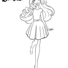 Dibujo para colorear : Barbie de paseo con su mascota