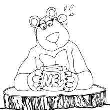 Dibujo para colorear : Miel y Oso Pardo