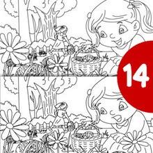 Juego de buscar las diferencias : Niños en le jardín busca las 15 diferencias