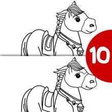 CABALLO SENTADO busca las 10 diferencias