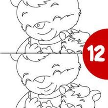 Juego de buscar las diferencias : Mama oso con su bebe busca las diferencias