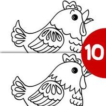 Juego de buscar las diferencias : GALLINA busca las 10 diferencias