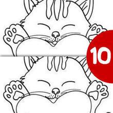 Juego de buscar las diferencias : Gatito con corazón grande