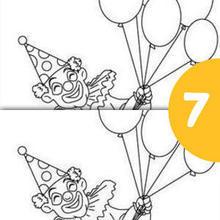 Juego de buscar las diferencias : Payaso con globos