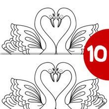 Juego de buscar las diferencias : Cisnes y corazón