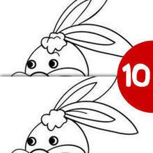 Juego de buscar las diferencias : Conejo con corazón
