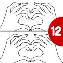 Juego de buscar las diferencias : Corazón con dedos