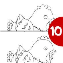 GALLINA  de pascua busca las 10 diferencias