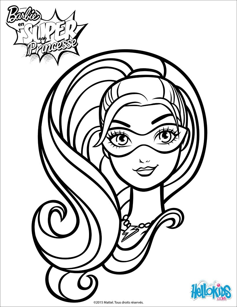 Dibujos para colorear retrato de barbie super princesa  es