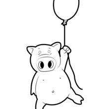 Dibujo para colorear : Cerdo que vuela