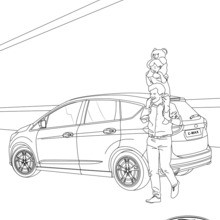 Dibujo para colorear : Ford C-MAX, vista de atrás