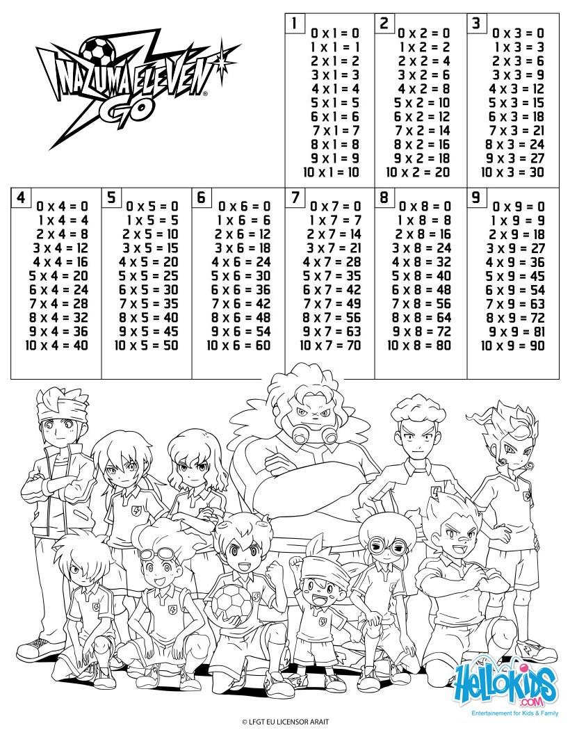 Dibujos Para Colorear Tablas De Multiplicar Inazuma Eleven