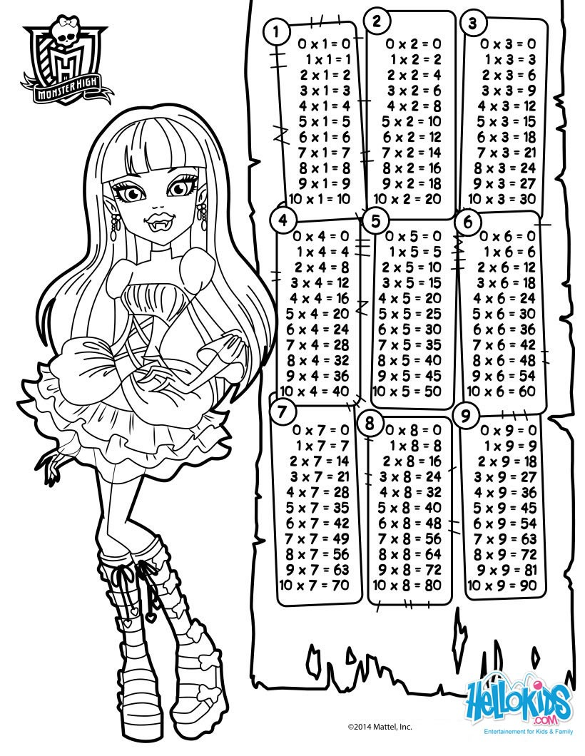 Dibujos para colorear tablas de multiplicar monster high - es ...