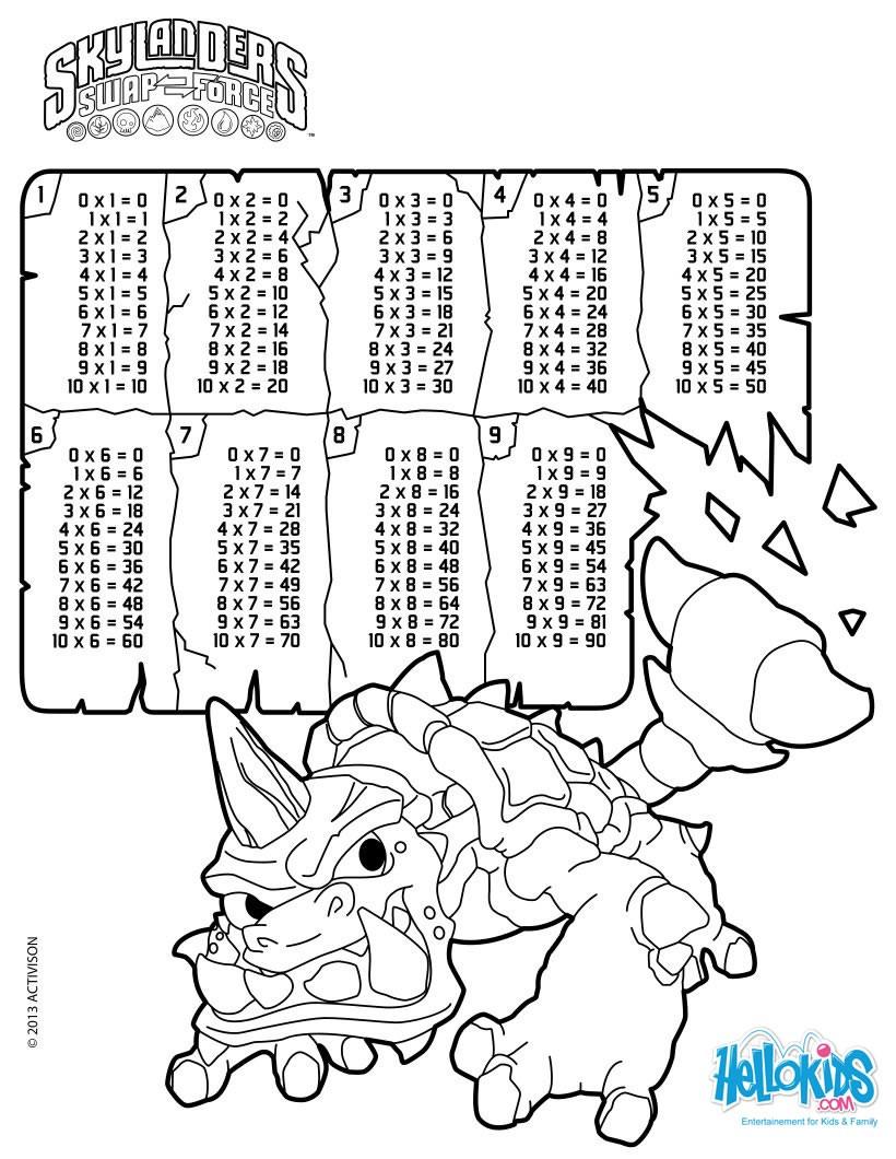 Dibujos para colorear tablas de multiplicar skylanders