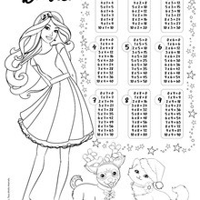 Dibujo para colorear : Tablas de multiplicar Barbie