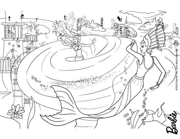 Dibujos para colorear barbie en el remolino infernal de la sirena