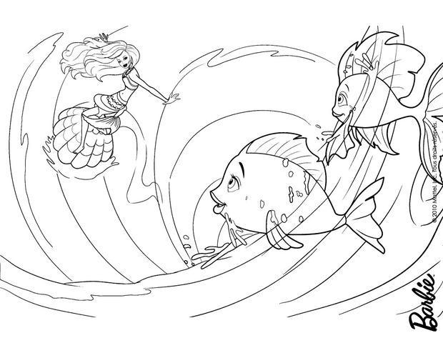 Dibujos para colorear barbie sirena jugando con peces en el agua ...