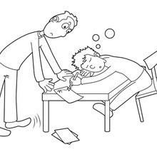 Dibujo para colorear : L'élève endormi