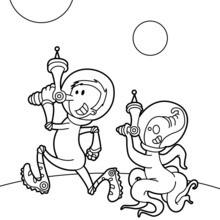 Dibujo para colorear : La tripulación espacial