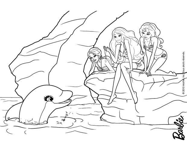 Dibujos para colorear las amigas con el delfin  eshellokidscom