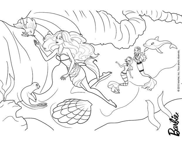 Dibujos para colorear merliah de humana con sus amigos del mar - es ...