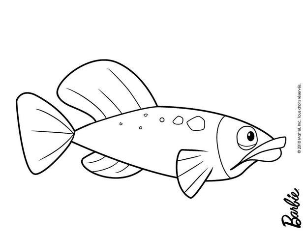 Dibujos para colorear pez en barbie una aventura de sirenas  es