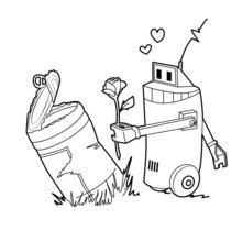 Dibujo para colorear : Robots en lata