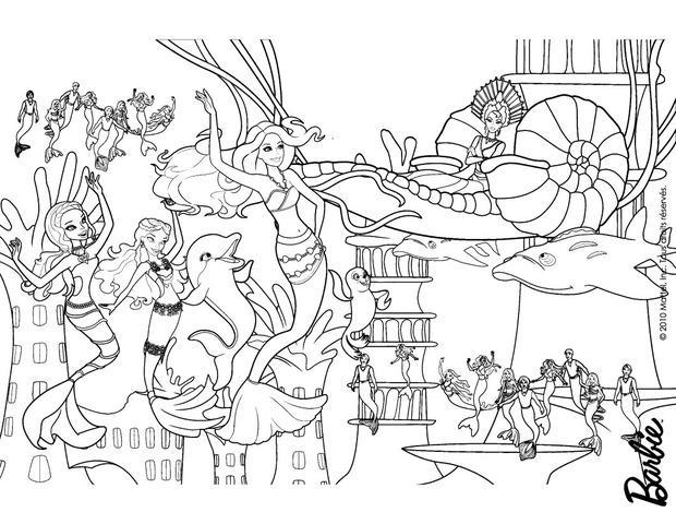 Dibujos para colorear un fiesta de sirenas en oceana - es.hellokids.com