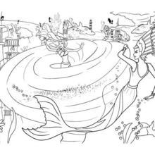 Dibujo para colorear : BARBIE en el remolino infernal de la sirena Eris