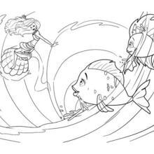 Dibujo para colorear : BARBIE SIRENA jugando con peces en el agua