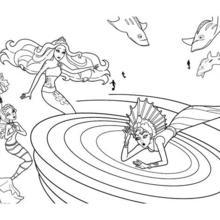 Dibujo para colorear : ERIS la sirena mala en el remolino