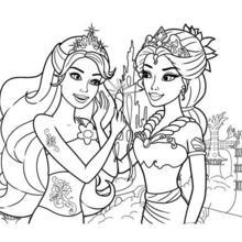 Dibujo para colorear : la REINA de las sirenas con su hija MERLIAH