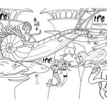 Dibujo para colorear : la SIRENA ERIS en su carro submarino