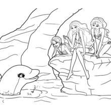 Dibujo para colorear : las amigas con el delfin