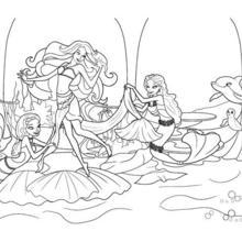 Dibujo para colorear : MERLIAH con sus amigas sirenas