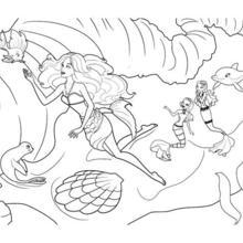 Dibujo para colorear : MERLIAH de humana con sus amigos del mar