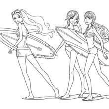 Dibujo para colorear : MERLIAH y sus amigas estrellas del surf