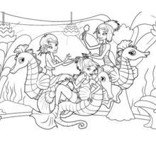 Dibujo para colorear : SIRENAS DE OCEANA con hipocampos