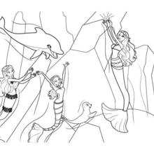 Dibujo para colorear : SIRENAS FELICES