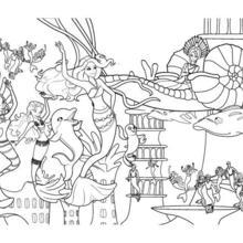 Dibujo para colorear : un fiesta de SIRENAS en OCEANA