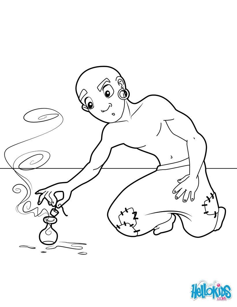Dibujos para colorear el pescador y el demonio - es.hellokids.com