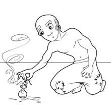 Dibujo para colorear : El pescador y el demonio