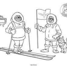 Dibujo para colorear : Los exploradores de los Polos Norte y Sur