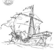 Dibujo para colorear : Barcos de los exploradores