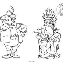 Dibujo para colorear : Los exploradores de las Americas