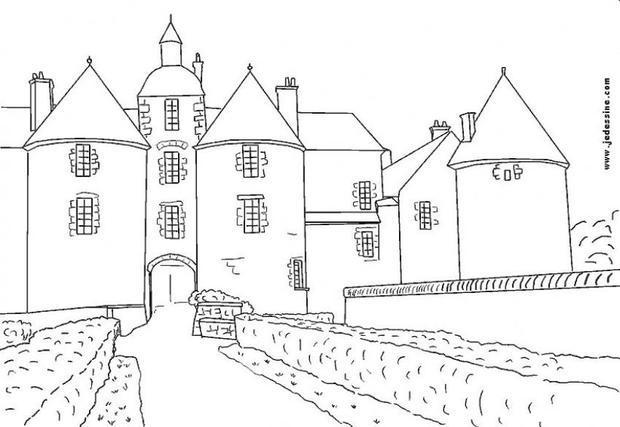Dibujos para colorear un castillo francés - es.hellokids.com