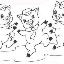 Dibujo para colorear : los cerditos bailando